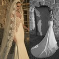 2016 Elegant Spaghetti Straps Sweetheart Lace Appliques Mermaid Backless Wedding Dress Chapel Train Custom made
