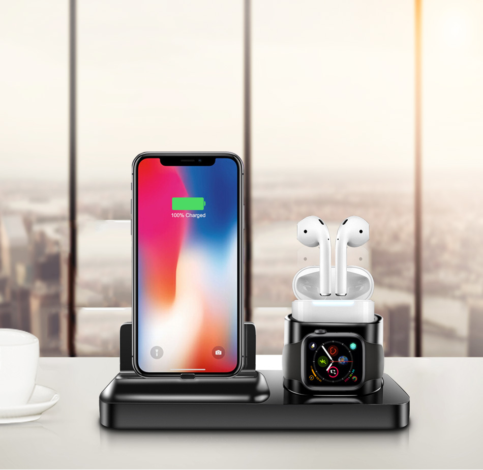 !ACCEZZ 3 in 1 Wireless Charging Holder Stand Magnetic Phone Charger For AirPods Apple i Watch For Xiaomi Desk Charge Stand Dock (8)