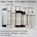 OEM For iPhone 5 5G 5C 5S 6 6s 7 plus Front Outer Screen Glass Lens Cover with LCD bezel Frame with oca with mesh Assembly parts