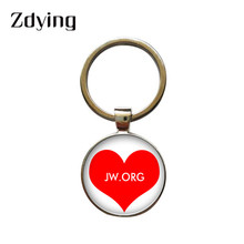 ZDYING 2019 JW.ORG keychain Jehovah's Witnesses JW Glass Photo Cabochon Keyring Bag Key Charms Pendant J009