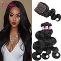 Light Brown Malaysian Curly Hair Bundles With Lace Closures Body Wave Hair Extension Malaysian Body Wave With Closure 3 Bundles