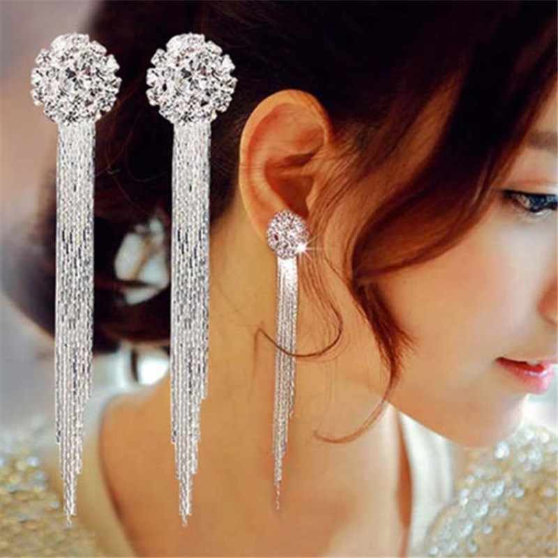 EK742 Korean Fashion Jewelry Personality Temperament Crystal Tassel Earrings Bridal Earrings For Women Long Earrings  Oorbellen