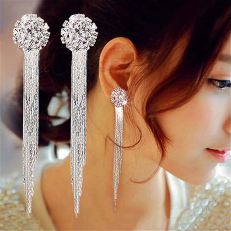 EK742 Korean Fashion Jewelry Personality Temperament Crystal Tassel Earrings Bridal Earrings For Women Long Earrings  Oorbellen