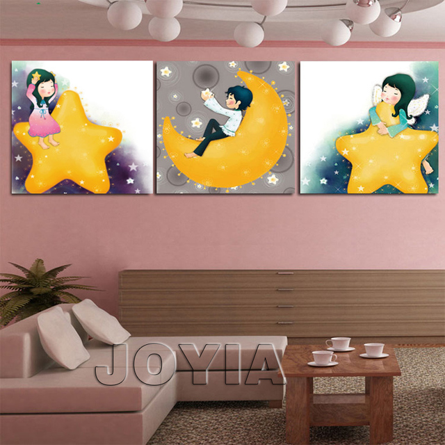 3 Panel Wall Decor Canvas Painting Kids Room Cartoon Star Moon Art Pictures On Walls For
