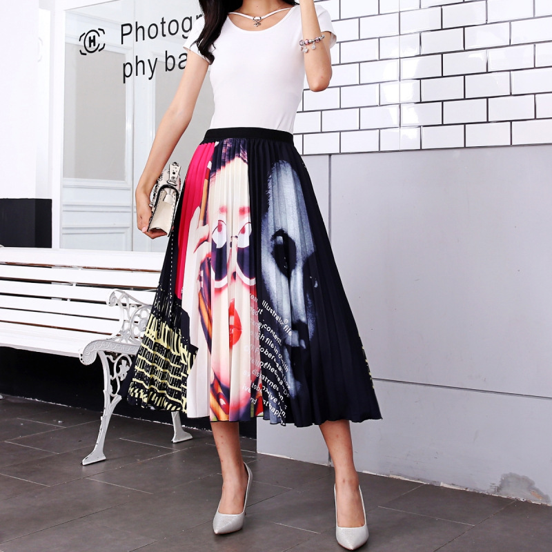 2020 New Summer Skirts Womens Butterfly Catroon Print Empire High Waist Elastci Pleated Midi Skirt European High Street Style 39