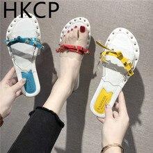 HKCP Fashion Cool slippers womens beach summer 2019 new Korean version rivet transparent bow flat C280