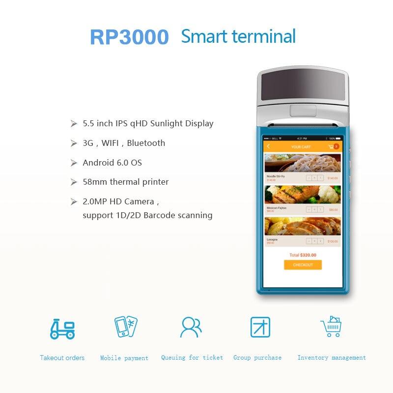 5,5 Дисплей Wi-Fi GPRS 3g Bluetooth Термальность получения принтера USB SIM ручной Мини Android Pos терминала с сканера штриховых кодов