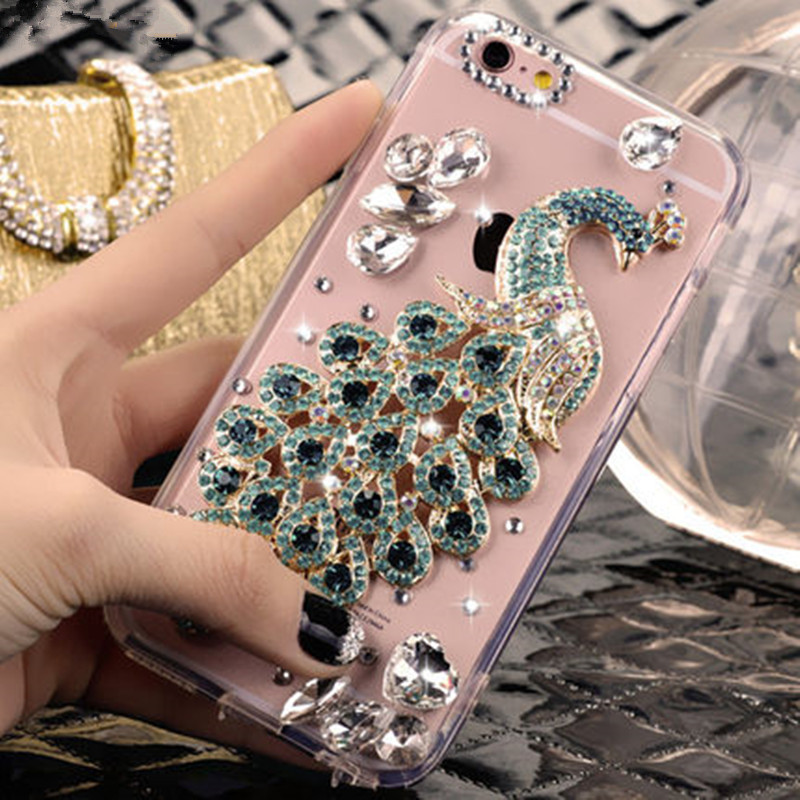 LaMaDiaa For Samsung S7 S8 S9 S10 S20 Ultra Note 5 8 9 10 Plus Bling Luxury Crystal Rhinestone Peacock Diamond Soft Phone Case