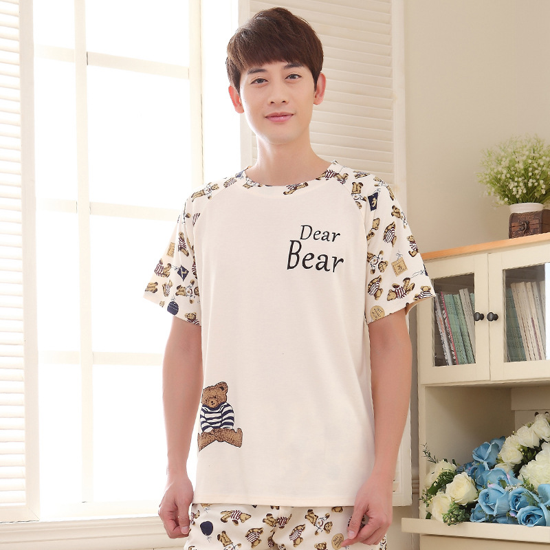 Men summer new cute Korean 2019 cotton short sleeve shorts men's youth XL pajamas pajama sets mens pajama set men sleepwear(China)