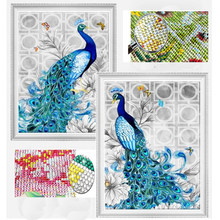 32X45 Cm 5D Diamond Bordir DIY Diamond Lukisan Burung Merak Rhinestone Gambar Mosaik Diamond Christmas Diamond Lukisan Dekorasi(China)