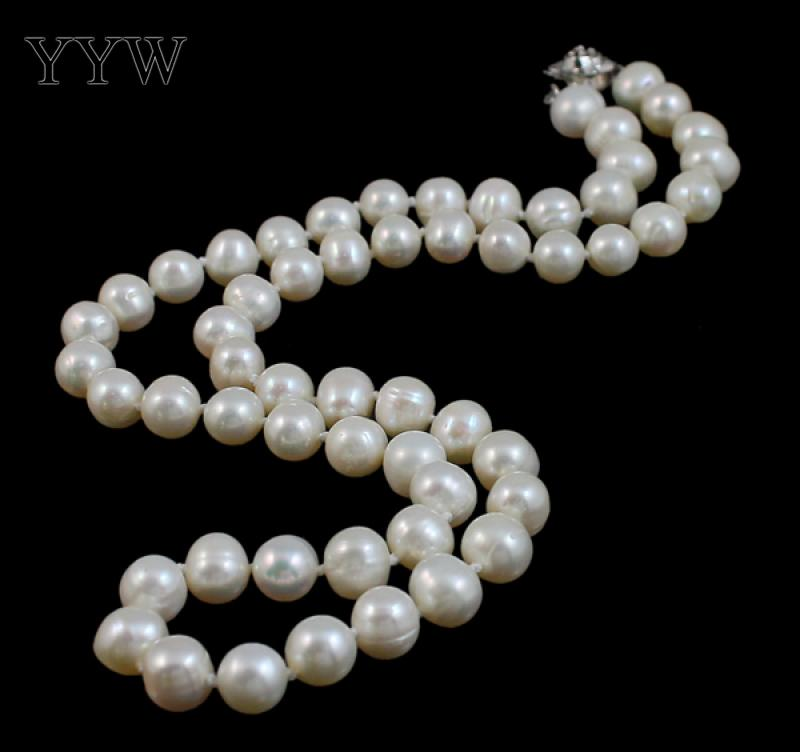 YYW 100% Natural Freshwater Pearl Necklace Fashion Jewelry 7-8mm Oval white pear