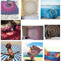 New Indian Mandala Rectangle Roundie Beach Throw Tapestry Hippy Boho Gypsy Polyester Tablecloth Beach Towel Rectangle Mat