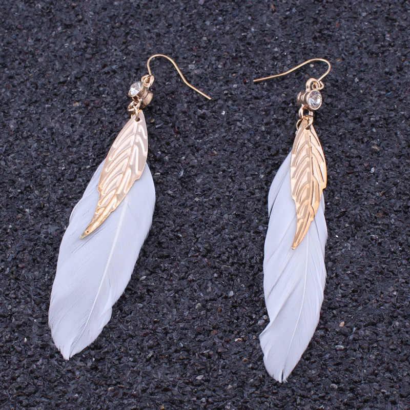 งบวินเทจBohoยิปซีชาติพันธุ์ต่างหูขนนกสีทองใบคริสตัลอินเดียสีขาวขนยาววางต่างหูสำหรับผู้หญิง