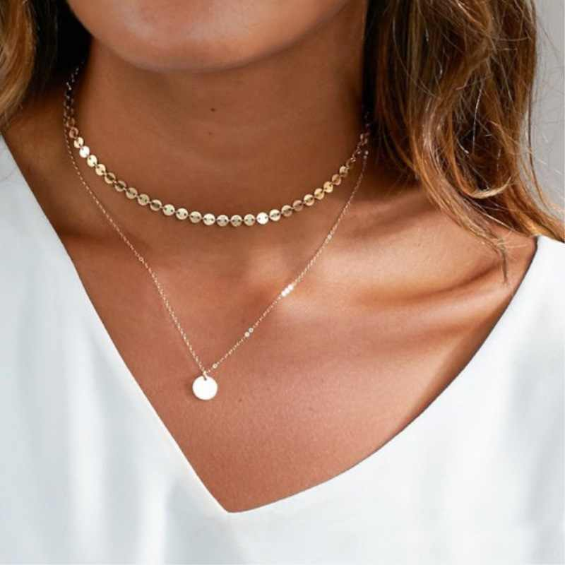 New Fashion Sliver Gold Color Heart Star Leaf Chain Chokers Layered Pendant Necklace Bridal Weeding For Women Party Jewelry