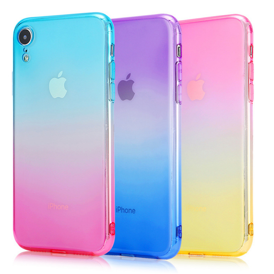 For IPhone 6 6S 7 8 Plus Ultra Thin Cases For IPhone X XR XS Max  Clear TPU Phone Cases For IPhone 5S 5 SE Fundas Colorful Color