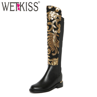 WETKISS Size 34 42 Luxury Designer Shoes Women Bling Gold Sequined Knee High Boots Genuine Leather