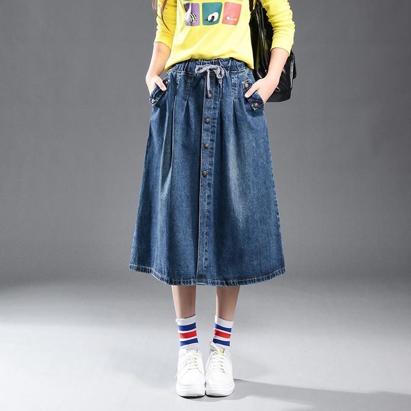 Summer Denim Midi Elastic Waist A-line Plus Size Casual Skirt Large Size Female Leisure Pockets Skirt High Quality 9XL TT2547 voa plus size 5xl heavy silk sexy mini skirt a line women casual navy blue sweet cute print pleated short skirt summer c103