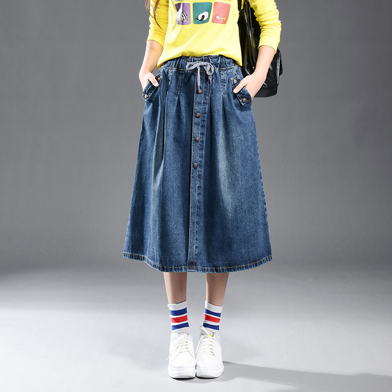 Summer Denim Midi Elastic Waist A-line Plus Size Casual Skirt Large Size Female Leisure Pockets Skirt High Quality 9XL TT2547