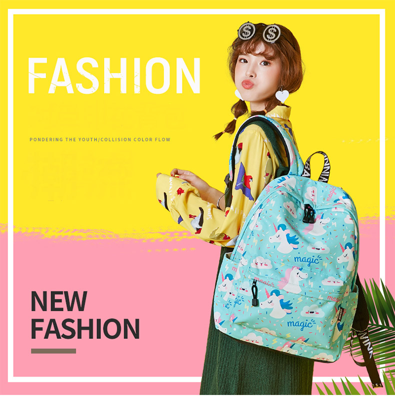 WINNER Women Backpack Unicorn Cute School Printing Backpack Bookbag School Bags For Teenage Girls Mochila Travel Softback (19)