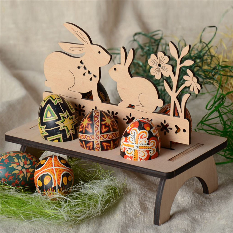 Creative DIY Craft Toys Easter Egg Storage Kids Wooden Easter Eggs Stand Rack Toys For Children Educational Toy Party Present