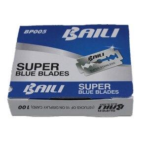 Лидер продаж, 100 шт./лот, двухсторонние лезвия марки BAILI, черные лезвия для бритвы из нержавеющей стали