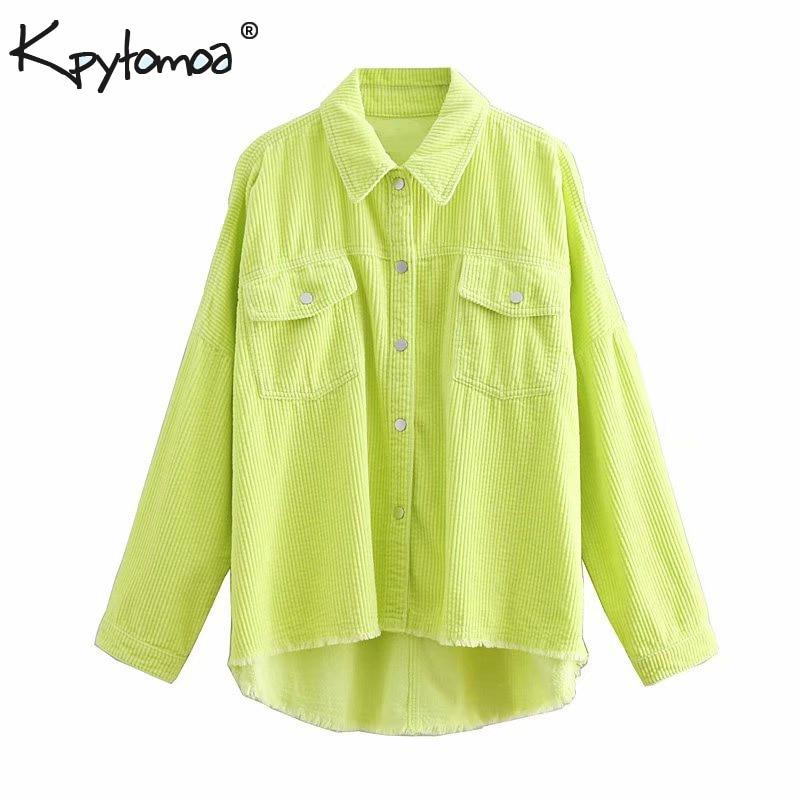 Vintage Chic Solid Pockets Tops Women Blouses 2020 Fashion Long Sleeve Lapel Collar Irregular Ladies Shirts Casual Blusas Mujer