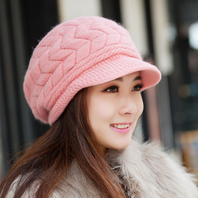 355be3b2e6418 Women s rabbit fur hat knitted hat cap ear double layer thermal knitted hat  winter autumn and winter