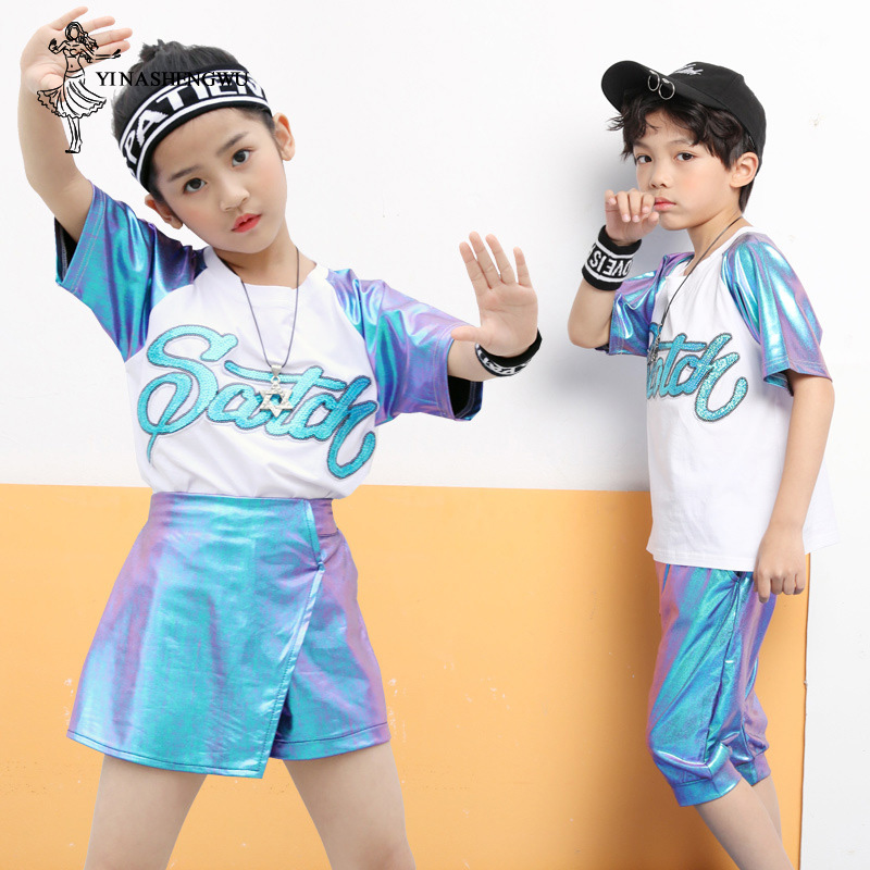 Jazz Dance Costumes For Girls Performance Kids Boys Street Dance Set Girls Jazz Dance Clothing Sequins Performance Costumes