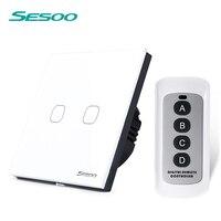 EU Standard SESOO 2 Gang 1 Way Remote Control Switch Crystal Glass Panel Light Switch Wall
