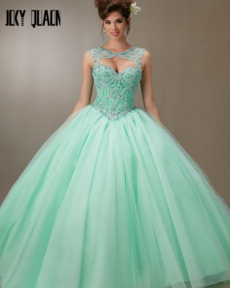 Joky Quaon New Special Removable Shawl Lace Up Sky Blue Pink Aquamarine Tulle Shiny Beads Crystals Quinceanera Dresses Girl 2017