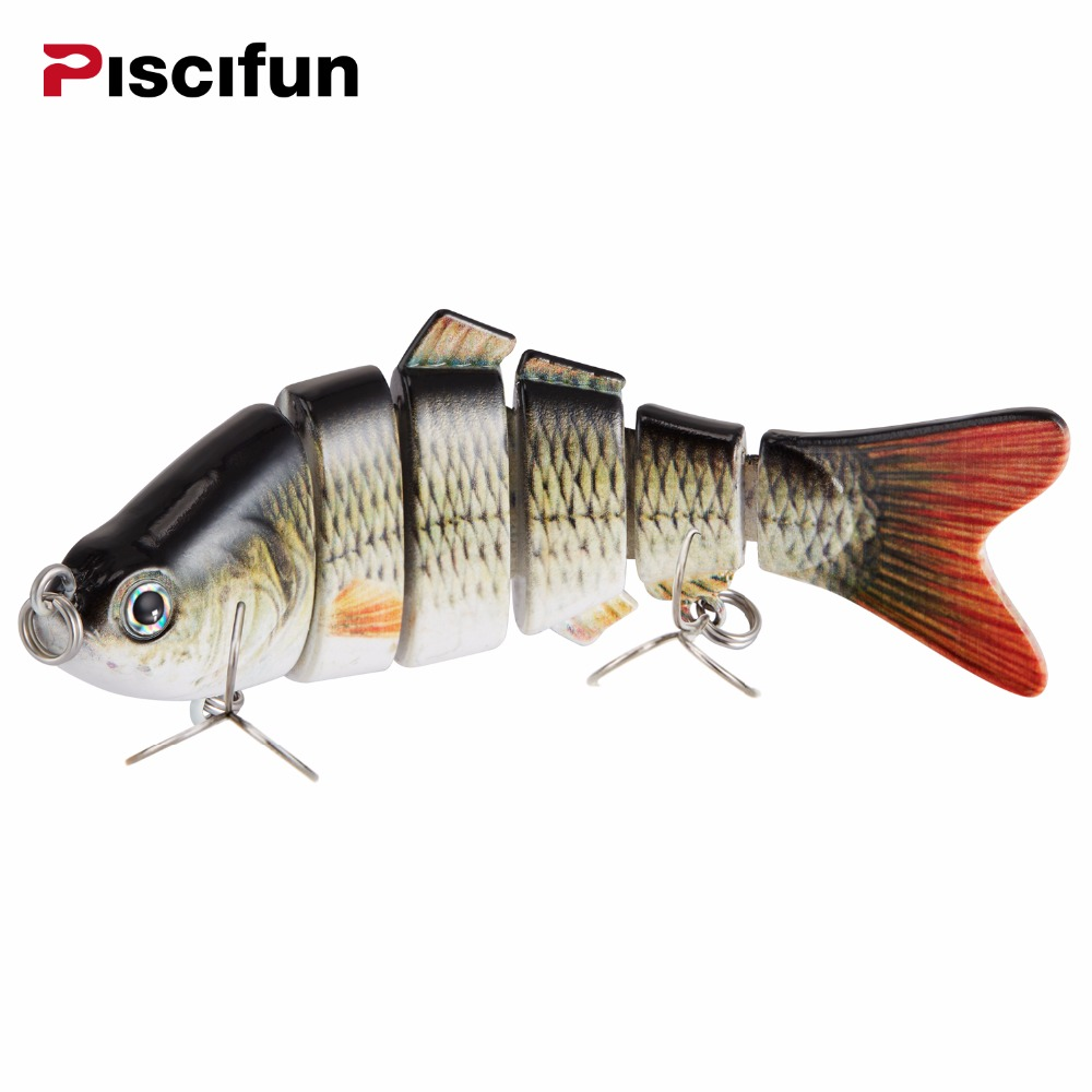 Piscifun Fishing Lure 10cm 20g 3D Eyes 6-Segment Lifelike Fishing Hard Lure Crankbait With 2 Hook Fishing Baits Pesca Cebo fishing baits with hook color assorted 5 pack