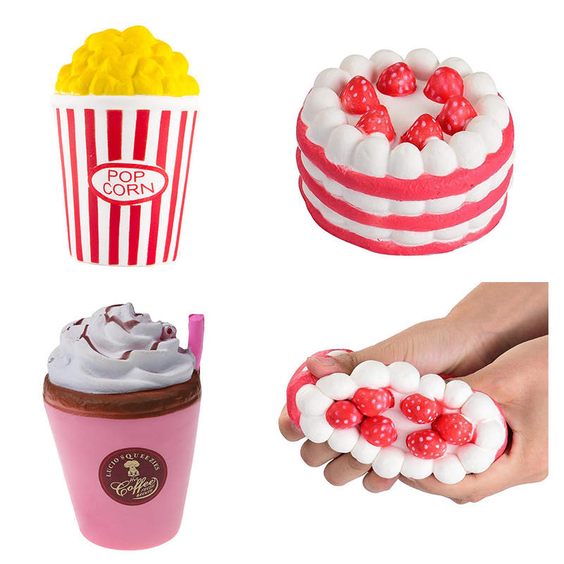 Cake Popcorn Cup Squishy Slow Rising Antistress Fun Phone Charm Gift Strap Toy Novelty Baby Toys Relieve Stress Gift Squeeze fun autism toys hamster squishy decor slow rising kid toy squeeze relieve anxiet gift toys for children pu simulation hamster