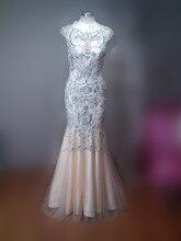 Atemberaubende Perlen Formales Kleid-kappen-hülsen Meerjungfrau Langes Abendkleid Echt Foto Benutzerdefinierte Größe