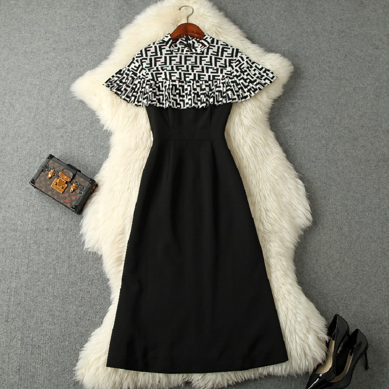 Work Office lady Dress Runway 2019 new Superior quality ladies women elegant Cloak dress xl Casual