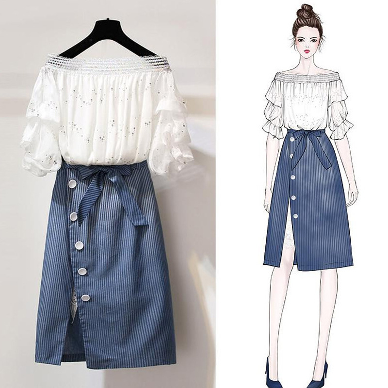 2 piece set women skirt and white top Off Shoulder Crop Top Womens Casual Summer 2 Piece Outfits for Women 2018