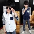 Tommu Carino New Arrivals 100% Cotton Boys striped shirts White Black Dark Blue Kd 5 7 9 11 13 Years camisa infantil menino