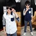 Tommu Carino Recién Llegados 100% Algodón Niños camisetas de rayas Blanco Negro Azul oscuro Kd 5 7 9 11 13 Años camisa infantil menino