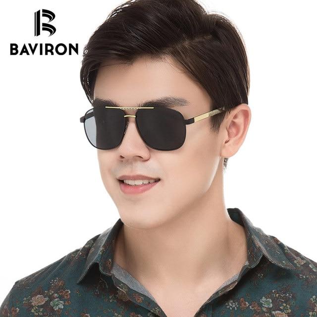e2e04ab04b BAVIRON hombres piloto gafas de sol de moda polarizado clásico gafas de  conducir cuadrado 2018 nueva