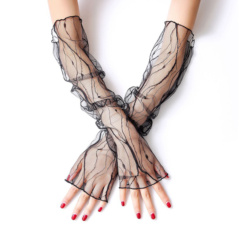 Fashion Romantic Ladies Lace Sleeves Gloves White Wrist Length Fish Net Sunscreen Sleeve Short Gloves Women Accessories