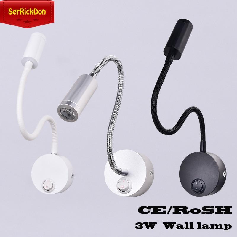 3 Вт привело шланги гибкий настенный светильник дома отель прикроватная настенный светильник чтения современная мода Лампы для чтения Алюминий светодиодные лампы переменного тока 110 В/220 В