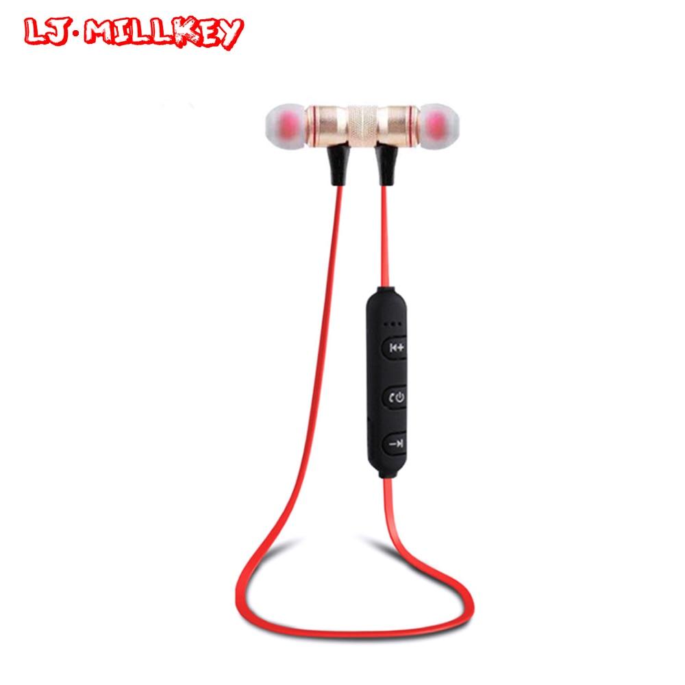 XT-6 Bluetooth Earphone With Mic Wireless Anti-sweat Magnetic Earphones Sport Bluetooth Headsets For Run Gym LJ-MILLKEY LZ024 stereo wireless earphones bluetooth 4 1 earphone sport waterproof anti sweat headphone handsfree mic earpiece for outdoor sport