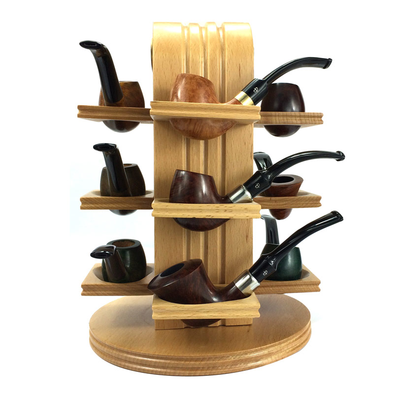 High Quality Solid Wood 12 Pcs Smoking Pipe Rack Stand Holder Pipes Hold Free Shipping In Accessories