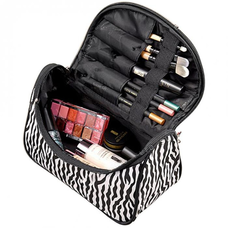 Professional Cosmetic Case Bag Fashion Portable Waterproof Women Makeup Bag Storage Organizer Box Beauty Case Travel Pouch Zebra