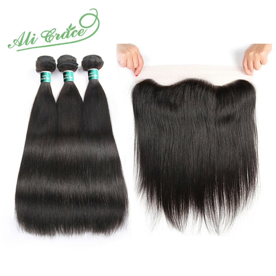 ALI GRACE Cambodian Straight Hair 3 Bundles With 13 4 Free Middle Part Natural Color Hair