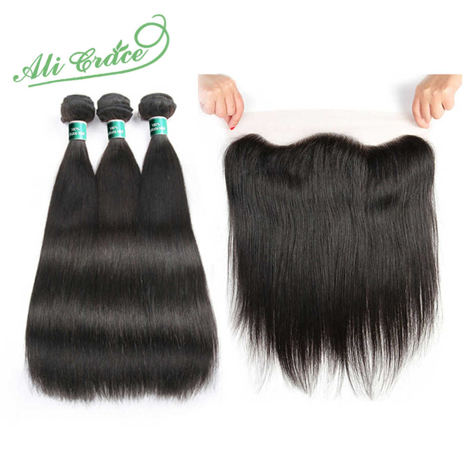 ALI GRACE Cambodian Straight Hair 3 Bundles With 13*4 Free/Middle Part Natural Color Hair Weaves Remy Human Hair Extensions