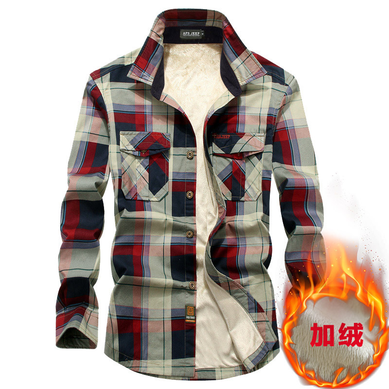 Shirt Men Winter Cotton Sanding Flannel shirts Mens thickening plus Size 4xl velvet long-sleeved plaid shirt protective clothing Рубашка