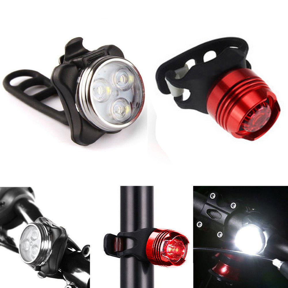 New bicycle Rechargeable LED Bike Light Bicycle Lamp Set Front Light Tail Light USB Waterproof  Suitable for all bicycles 2