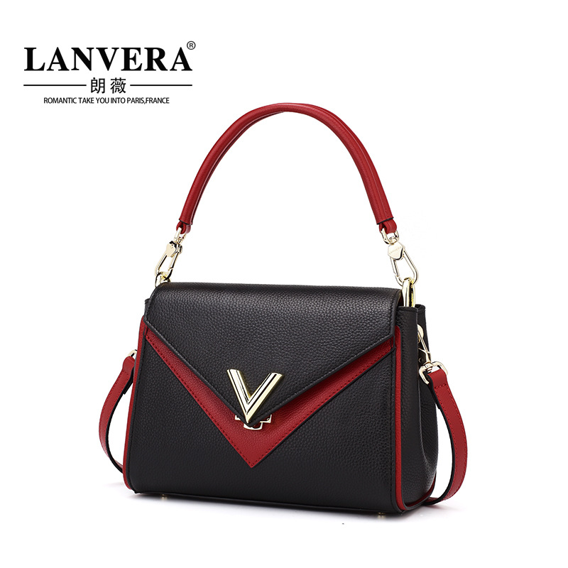 Women Bag Tote Genuine Leather Hit Color Crossbody Women Messenger Bags Lady Handbags Flap OL Business Female Shoulder Bag hot 2017 classic scrub tote with chain tote crossbody bags women split leather handbags lady messenger bag for female an867