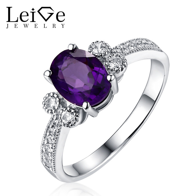 leige jewelry amethyst wedding ring oval cut 925 sterling silver fine rings for women natural gem - Amethyst Wedding Ring