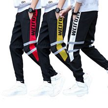 Side Stripe Track Jogger Pants Men 2019 Label Harem Homme HipHop Letter Streetwear Male Ankle-length pants